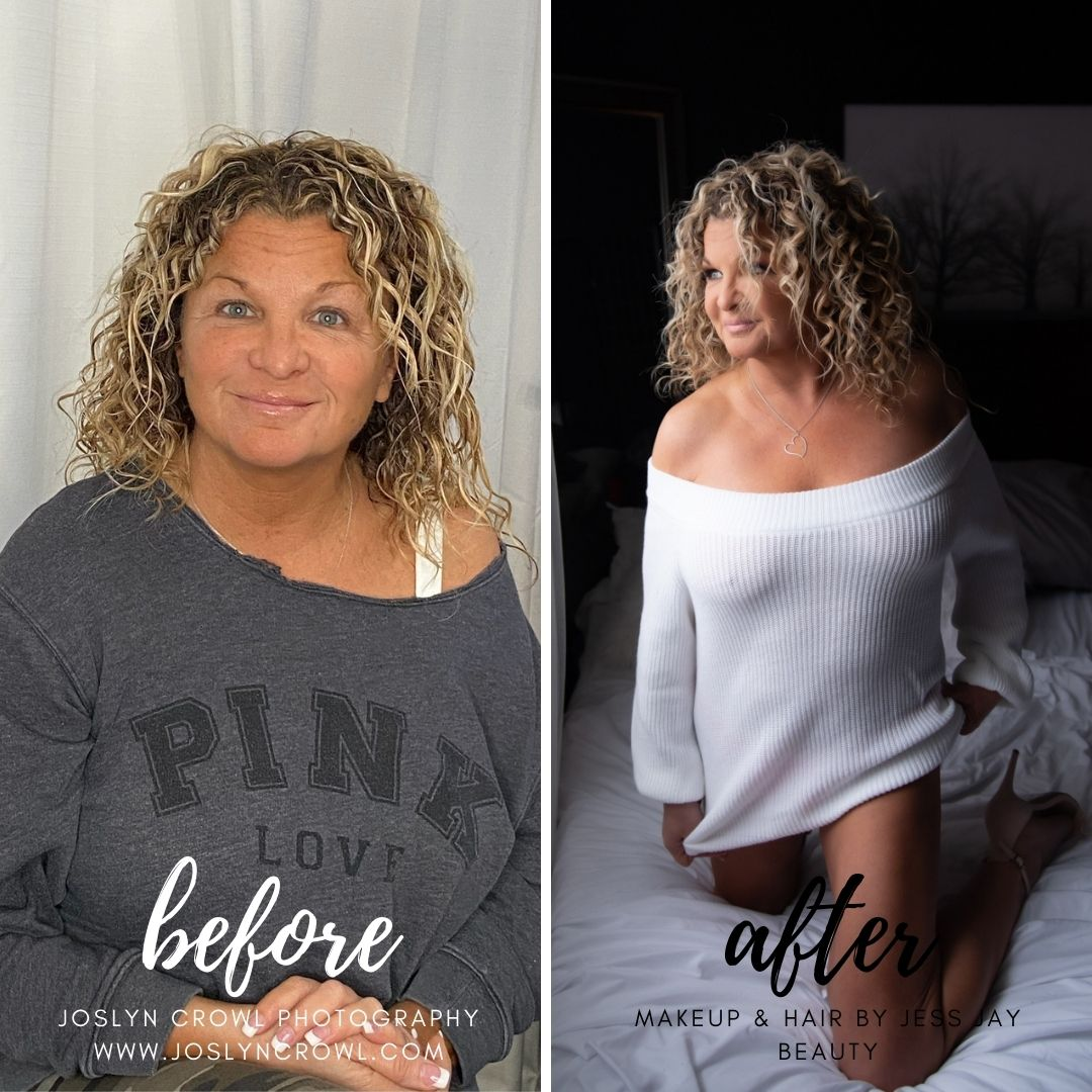 Columbus Boudoir Photographer before and after with makeup and hair